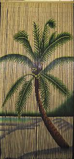 Painted Bamboo Curtains Bamboo Painted Curtain With Single Palm Tree