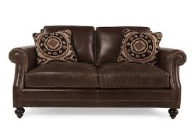 Leather Chair And Half Design Ideas European Classic Leather Loveseat In Dark Brown Mathis Brothers