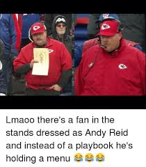 Andy Reid Meme - nfl cbs fl lmaoo there s a fan in the stands dressed as andy