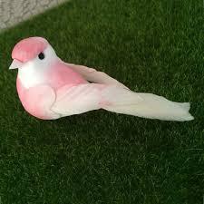 12pcs lenght 10cm artificial foam feather birds in pink wedding