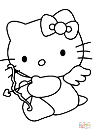 hello kitty valentine u0027s day cupid coloring page free printable