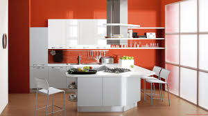 Kitchen Latest Design by Latest Small Kitchen Designs With Orange Wall Paint And White