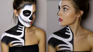 halloween makeup tutorial half skeleton half glamour rosiesmith