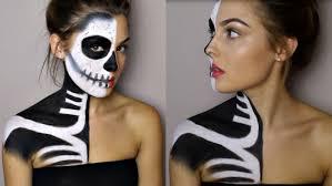 half skull mask halloween halloween makeup tutorial half skeleton half glamour rosiesmith