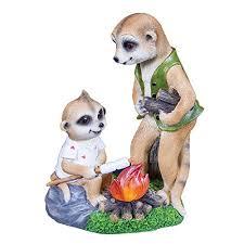 gardenkraft 20780 cfire papa and baby ollie meerkats solar