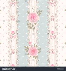 Shabby Chic Style Wallpaper by Seamless Striped Polka Dot Pattern Roses Stock Vector 202982914