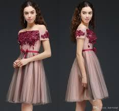 off the shoulder burgundy knee length short cocktail dresses 2018