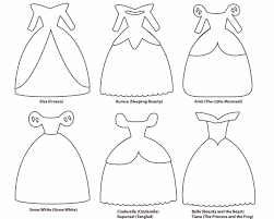 6 paper dress cutout templates for 8 disney princess characters