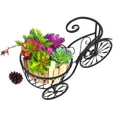 iron plant stand nostalgic bicycle home garden decor bike basket