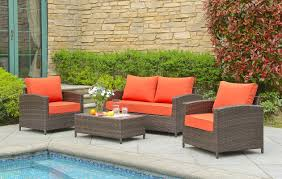 Wicker Deep Seating Patio Furniture - beachcrest home marybeth 4 piece deep seating group with cushion