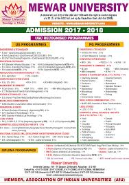 mewar university admission ug programmes