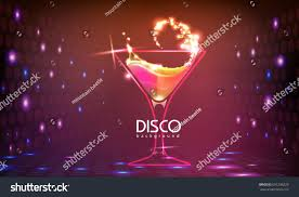cocktail party neon disco cocktail party background stock vector 691296229