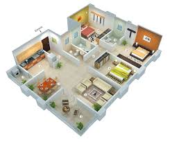25 More 3 Bedroom 3d Floor Plans House Plan Designs In 3d