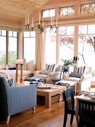Wohnzimmer Fenster Maritimes Wohnzimmer Raumhohe Fenster Blau Weiße Streifen Holz