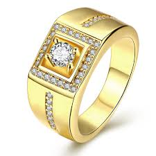 mens golden rings images Gold color ring stone men cubic zirconia engagement ring mens gold jpg