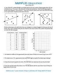 line of best fit 7th 8th grade worksheet lesson planet