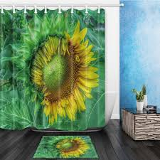 popular sunflower shower curtain hooks buy cheap sunflower shower half open sunflower flower bed bath shower curtain sets waterproof fabric with 12 hooks wts035