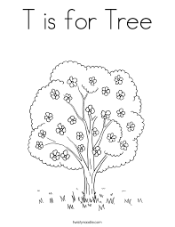 T Is For Tree Coloring Page Twisty Noodle Tree Coloring Pages