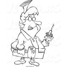 vector of a cartoon grim nurse holding a syringe and hammer