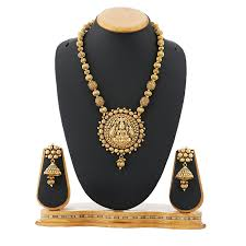 gold colour chain necklace images Buy satyam jewellery nx gold copper ball chain temple necklace set jpg