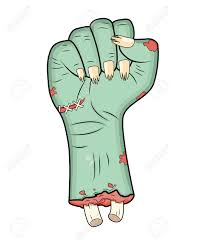 Halloween Monster Hands Zombie Hand Fist Gesture Halloween Vector Realistic Cartoon