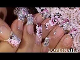 glitzy glitter glam party nails nail degins 3d video