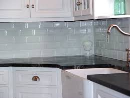 White Glass Backsplash by Good White Subway Tile Backsplash On Kitchen With Decoration In
