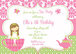 Example Of Invitation Card For Birthday Party Invitations Great Design Tea Party Invitation Wording