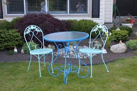 Wrought Iron Bistro Chairs Furniture Blue Wrought Iron Bistro Sets For Minimalist