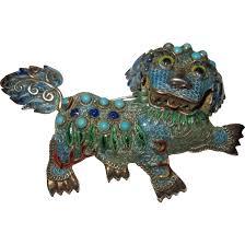 foo dog for sale vintage filigree foo dog enamel silver brooch tag