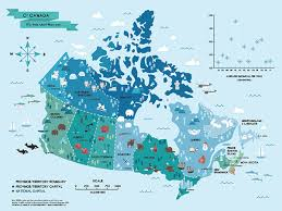 map if canada illustrated map of canada on behance