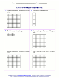 4th Grade Math Worksheets With Answers Area And Perimeter Worksheets Rectangles And Squares