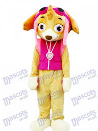 patrol skye mascot costume pink dog fancy suit cartoon character