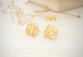 Personalized Name Earrings 14k Gold Monogram Earrings Personalized Name Earrings Letter