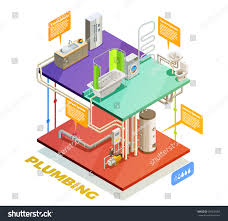 plumbing two story house water heating stock vector 607020065