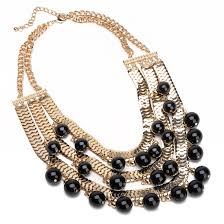 chunky pearl bib necklace images Fashion gold snake metal chain black pearl beads chunky collar bib jpg