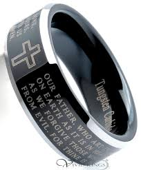 beveled ring 8mm men s black tungsten carbide lord s prayer polished beveled