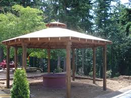 custom outdoor fire pits custom gazebo with cedar shake roof and fire pit build it