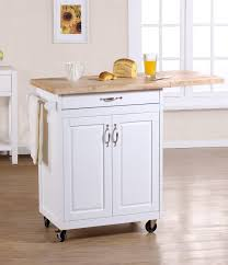 small white kitchen island cart with doors and drop leaf butcher