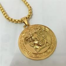 brand name necklace images Wholesale full diamond medusa pendant necklaces for mens brand jpg