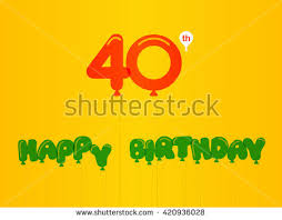 40th anniversary color 40 year birthday celebration flat color stock vector 420936028