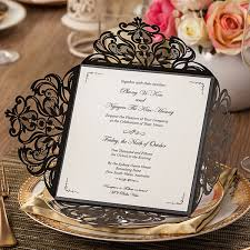 Wedding Invitation Card Affordable Shiny Black Laser Cut Wedding Invitations Ewws027 As