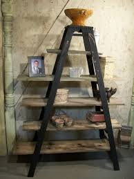 wooden shelving unit with vintage ladders 6 shelves