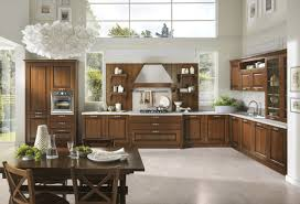 traditional kitchen with wooden walnut kitchen cabinets and