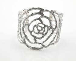 rose silver bracelet images Silver tone sequin rose cuff bracelet wholesale yiwuproducts JPG