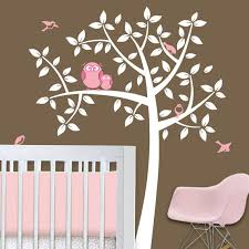 Large Nursery Wall Decals Baby Nursery Decor Brown Colored White Plant With Large Pink Owl