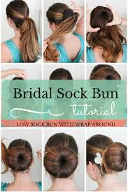 sock hair bun bridal hair low sock bun pumps
