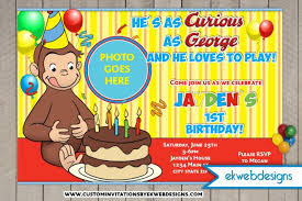 curious george birthday invitations custom photo invite
