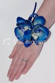 blue orchid corsage shop electric blue fresh touch orchid wedding wrist corsage online