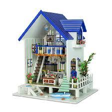 wood lego house harbor of venice gothic diy doll house 3d miniature light 5pcs
